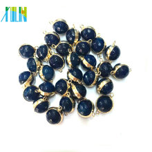Dark Blue Gold Plated Faced Round Bead Agate Double Loop Pendant Connector Charm Necklace Jewelry