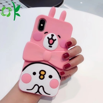 Pink Cute Arnab Silicone Phone Protector with Holder