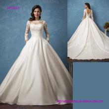 Long Sleeve Open Back Princess Wedding Dress