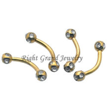 Anéis perfurando da sobrancelha de cristal chapeada ouro Titanium da bola do disco