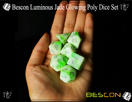 Bescon Luminous Jade Glowing Poly Dice Set-8
