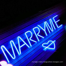 Hot sale marry me neon letter sign unbreakable outdoor sign led custom led neon sign wedding events