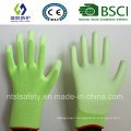 Fluorescent Green PU Coated Work Safety Glove (SL-PU201G)