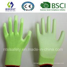 Fluoreszierender grüner PU-beschichteter Arbeitsschutzhandschuh (SL-PU201G)