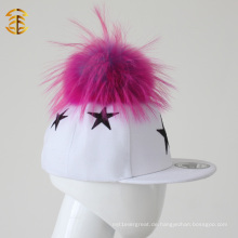 Top Sale Pelz Pom Pom Kinder Caps Custom Hysteresen Hüte für Kinder