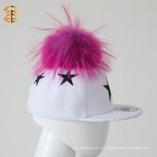 Top de venta de piel Pom Pom niños Gorras Custom Snapback sombreros para niños