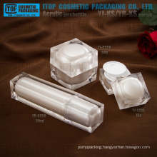Beautiful pearl white colored crystal high-end double layers square acrylic plastic cosmetic sample packaging
