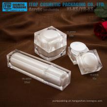 High-end camadas dobro de linda pérola branco cristal colorido quadrado embalagem amostra cosméticos plástico acrílico