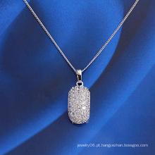 Moda cobre liga jóias pingente com cz sintéticos embutidos