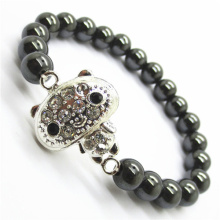 Hematite 8MM perles rondes Stretch Gemstone Bracelet avec pièce en alliage de Diamante