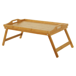 Bamboo food fruit serving tray with foldable leg