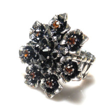 Antique silver Glass Crystal Flower Ring Women fashion Stone Jewelries metal alloy Stretch Party Rings