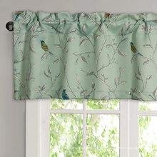 Cenefas de cortina de ventana con bolsillo de barra opaca para dormitorio