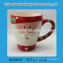 Novel ceramic cup with santa claus shape in high quality