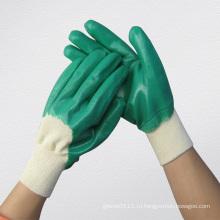 Зеленый Нитрила Полностью Покрытые Перчатки Химической-5033