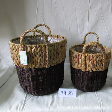 Round Water Hyacinth Flower Pot