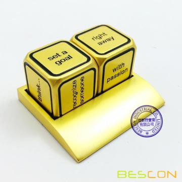Bescon Promotional Motivational Solid Metallic Dice Set, 2pcs Motivational Desktop Metal Dice Set One Inch D6 Matt Golden