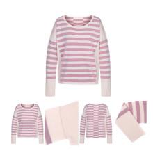 Reiner Cashmere-Pullover mit Rundhalsausschnitt und Streifen