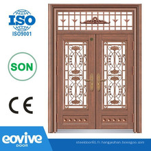 Luxe et sécurité entrée avant double portes en fibre de verre