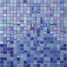 Vidro Mosaico Ice Jade Cor Azul Fundo do banheiro Mármico de vidro de derretimento