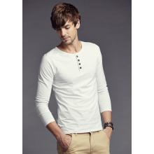 Mode-Kleidung-einfaches langes Hülsen-Männer Knopf-Kragen-T-Shirt