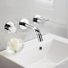 high quality double handle brass wall mounted bathroom wash basin mixer