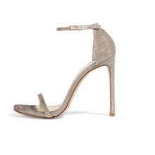 Sandália de senhora de salto alto cinza sexy