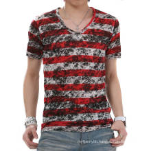 Fashion Dye Stripe V Neck Short Sleeve Summer Wholesale Cotton Men T Shirt