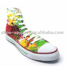 Textile printing canvas shoe women high top canvas shoe