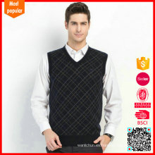 El último suéter sin mangas del patrón del chaleco del knit de los hombres del suéter del chaleco de las lanas del mens del último
