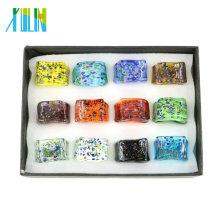 New Fashion Rectangle Shape Lampwork Glass Rings 12pcs/box, MC1004
