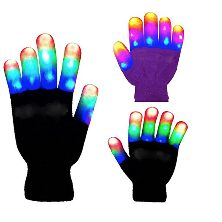 Colorful Bright Glowing Gloves