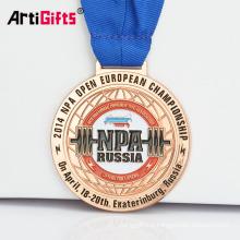 Récompense de plaque de souvenir de Powerlifting russe en métal fait sur commande