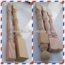 Balaústres de madeira superior e newels