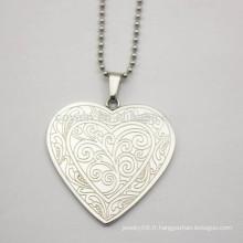 Pendentif coeur en acier inoxydable plaqué argent