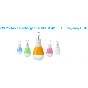 Ampoule de secours en plastique rechargeable portative USB IP42 5W LED