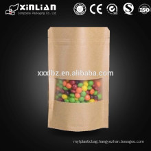 Kraft paper stand up pouch with resealable zipper and transparent window