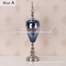 Acessórios de móveis decorativos lindos garrafas de vidro azul para decoração de casa