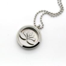 Runde Silber Lotus Blume Aromatherapie Locket Parfüm Diffusor Halskette