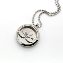 Round Silver Lotus Flower Aromatherapy Locket Perfume Diffuser Necklace