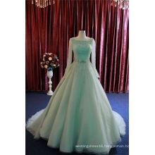 Green Beading Organa Long Sleeve Evening Dress