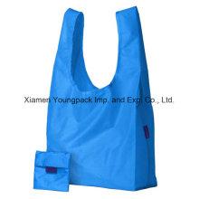 Publicité Custom Reusable 100% polyester sac à dos pliable sac à provisions