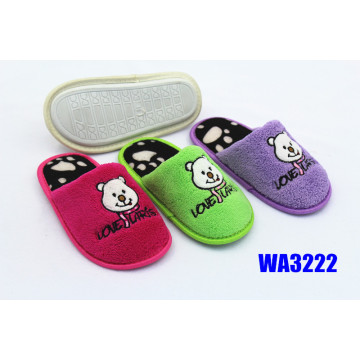 Kids' Bear Embroidery Terry Binding Indoor Slippers