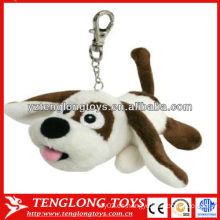 El perro relleno promocional juega el llavero de encargo de la felpa