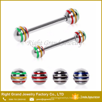 316L Surgical Steel Nipple Bar with 3 Striped Balls Nipple Ring