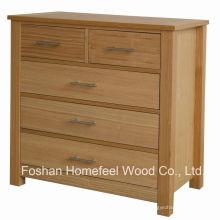 De alta calidad de roble dormitorio 5 cajones cómoda de almacenamiento (HC28)