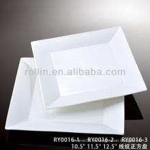 Serie de la serie de la venta caliente del hotel y del restaurante placas blancas cuadradas de la porcelana, placas del cargador, placas del cargador al por mayor