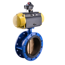 dn300 rubber sealing flanged triple eccentric Pneumatic butterfly valve
