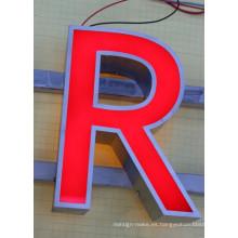 LED letras de acero inoxidable con luz de fondo y retroiluminada
