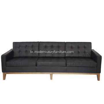 Florence Knoll Leather 3 인용 소파 복제